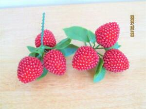 2 SETS OF PUSH PIN BEADED RED STRAWBERRY CLUSTERS 6 BERRIES WITH LEAVES
