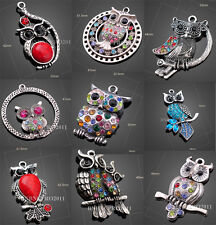 3x DIY Tibetan rhinestones Owl Charm Pendants Jewellery making craft beads