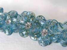 Vintage Rhinestone Buttons Flower Blue Glitter Tinsel Shank Austria 1950s