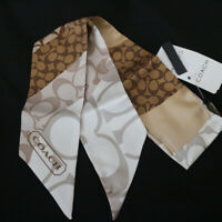 NWT COACH Patchwork Signature Brown Silk Ponytail Pony Tail Scarf NEW