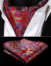RF431RS Red Green Paisley Men Silk Cravat Scarves Ascot Tie Handkerchief Set