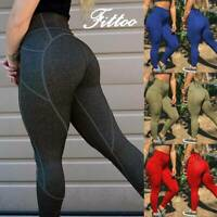 Women High Waist Yoga Pants Push Up Leggings Pockets Workout Fitness Gym Jogging