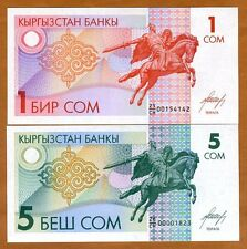 SET Kyrgyzstan, 1-5 Som, ND (1993), P-4-5, Ex-USSR, UNC > First Issue