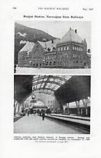 Norway Bergen Railway Station printed photograph 1937