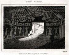 TARQUINIA: Tomba Etrusca,2. Viterbo.Maremma Laziale. ACCIAIO. Stampa Antica.1838