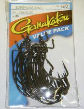 GAMAKATSU SUPER LINE EWG 74416-25 BASS HOOKS VALUE PACK 25 PK SIZE 6/0