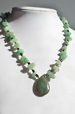 Vintage Natural Green Jade Hematite Bead Green Moss Agate Pendant Necklace