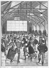 München, künstliche Eisbahn, Eislauf, OriginalHolzstich von 1884