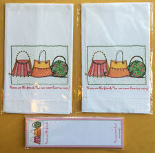 Magnetic Notepad + (2) Guest/Hand Fabric Towels - PURSE THEME-NEW