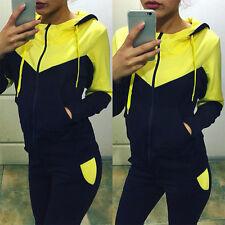 2Pcs Womens Tracksuits Hoodies Sweatshirt + Jogging Pants Set Sports Suit Outfit