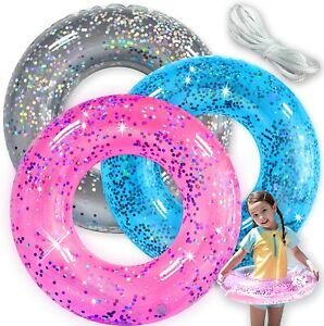Pool Floats Kids 3 Pack Inflatable Glitter Tube Toys for Swim Pool Party