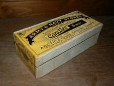 """ANTIQUE ARMY&NAVY SEALED BOX OF UNUSED CARRIAGE SPRING LAMP 8"""" CANDLES"""