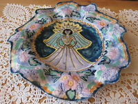 """Hand painted Thin Wave Edge Decorative Art Plate, """"The Angel Of Womanhood"""""""