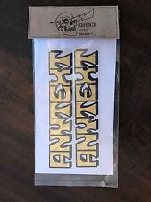2 DECALS *ANY TEXT* DECALS Gold leaf harley davidson swingarm fxr dyna sticker