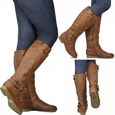 New Women Tc55  Tan Buckle Knee High Riding Boots 5 to 10