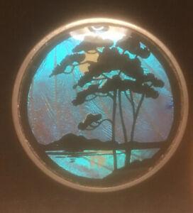 ANTIQUE BUTTERFLY WING ROUGE COMPACT (MOONLIT) SCENE PICTURE LA VOGUE MECHANICAL