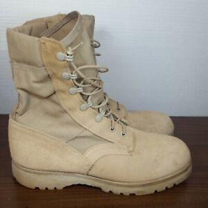 US Military Desert Tan Combat Boots Vibram Sole USA Made Size 10.5 Lace up EUC