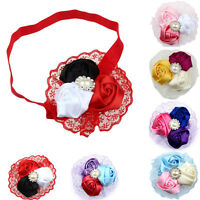 Lovely Baby Girls Hair Band Rose Pearl Diamond Lace Baby Headband  Tide