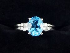 14k 1.80 Quilate Oro Blanco Topacio Azul SI2 G Anillo con Diamante Talla 6