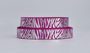 Pink and Silver Foil Zebra Print Star 25mm Grosgrain Ribbon per metre