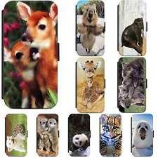 Cute Baby Animals Giraffe Koalas Flip Phone Case Wallet Cover iPhone Samsung