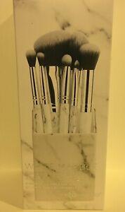 BH Cosmetics White Marble 9 Piece Brush Set With Angled Holder NIB