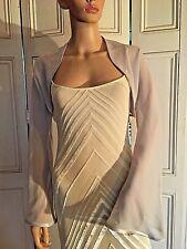 Silver grey long FLARED sleeve Chiffon Wedding Evening Shrug Bolero Wrap Jacket