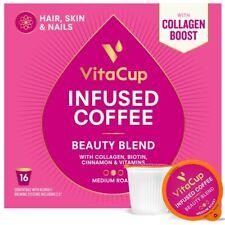 VitaCup Beauty Coffee Pods, Collagen & Biotin, Functional Blend. 16 Counts