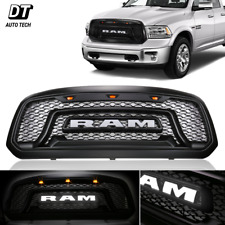 Mesh Grille White Letter Front Grill LED Light Fit 2013-2018 Dodge Ram 1500