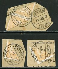 PORTUGESE COLONIES FUNCHAL LOT OF FOUR  SCOTT #1a  BISECTS  ON THREE  PIECES