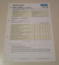 Inspektionsblatt MBK Motorroller YQ 50 / NITRO - ab 1998!