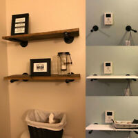Steampunk Storage Iron Pipe Shelf Bracket Book Wall Mounted Rack Holder Support