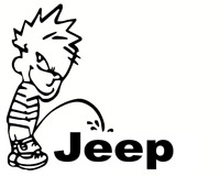 Calvin Pee Piss On JEEP Vinyl Decal  Car Window Sticker