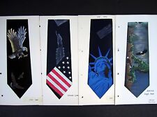 4 Americana Eagle Liberty Flag hand painted necktie swatches Crepe Silk Lot #12
