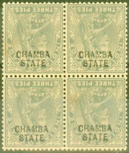 Chamba 1904 3p Grey SG23a Opt Inverted Ave MNH