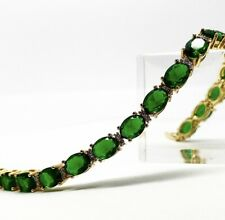 Yellow gold finish oval Green emerald and created diamonds tennis bracelet gift
