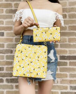 Kate Spade Darcy Fleurette Floral Small Bucket Bag Yellow + Large Bifold Wallet