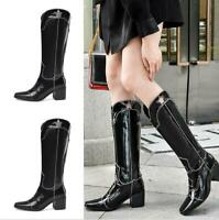 Western Trendy Women's Square Toe Patent Leather Chunky Heel Biker Cowgirl Boots