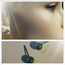 New Green Solid Titanium 6mm Ball Stud Earrings Hypoallergenic Allergy Free USA