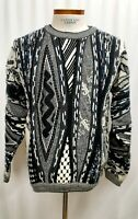 Vintage 90s Coogi Style Protege 3D Crew Neck Sweater Biggie Cosby Mens Large