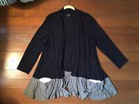 Lori Goldstein Logo Black Gray White Cardigan Sweater Top Coat Size Large L NWOT