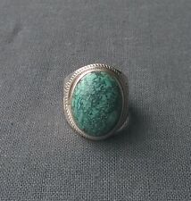AAA OUTSTANDING Solid 925 Sterling SILVER HUGE SPIDERWEB TURQUOISE oval ring R