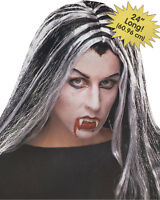 Morris Costumes Women's Vampire Halloween Party Streaked Black White Wig. FW9251