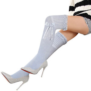 Ladies grey ivory thigh high stockings over knee long socks Lace & bow