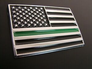 THIN GREEN LINE AMERICAN FLAG 3D EMBLEM STICKER LOGO FEDERAL AGENTS MILITARY