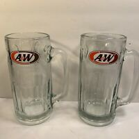 2 VINTAGE A&W ROOTBEER MUGS ''ALL AMERICAN FOOD'' LOGO HEAVY GLASS 7''