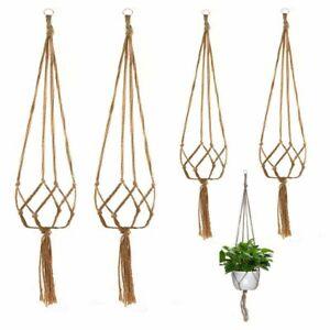 4 Pack Garden Plant Hanger Macrame Hanging Planter Basket Rope Pot Holder Decor