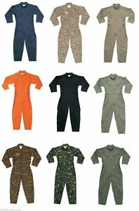 Flight Suit Military Air Force Style Flight Coveralls Camouflage or Solid