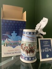 Budweiser 1995 Lidded Holiday Stein Signature Edition Lighting The Way Home New