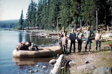 35mm Color Slide - Men At Lake Fishing Boating #